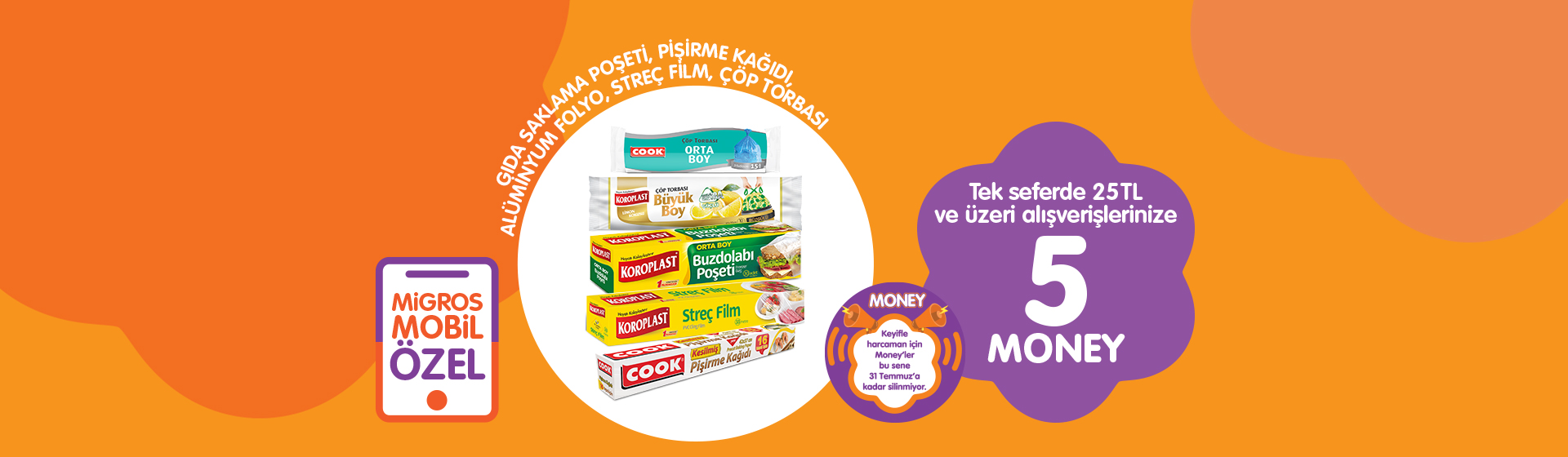 Gıda Saklama Poşeti, Pişirme Kağıdı, Alimünyum Folyo, Streç Film, Çöp Torbası Money Kampanyası